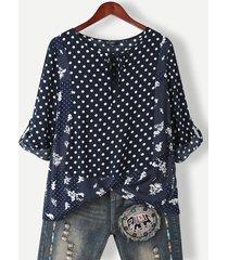 camicetta casual con bottoni o scollo annodati con stampa floreale a pois