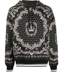 dolce & gabbana bandana print hoodie - black