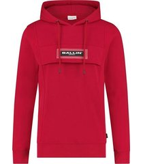 ballin amsterdam ballin | transparant logo patch anorak hoodie rood