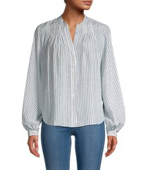 frame women's pleated silk blouse - powder - size l