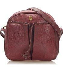 cartier must de leather crossbody bag red, bordeau sz: m