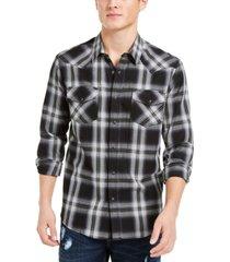 sun + stone men's tyler western plaid shirt, created for macy's