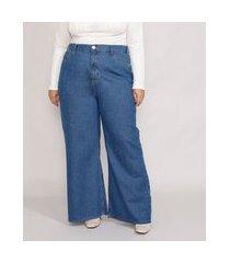 calça jeans feminina plus size mindset wide rio cintura super alta azul médio