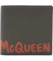 alexander mcqueen leather wallet with contrasting logo print