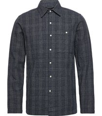 long sleeve checked shirt - gots/ve skjorta casual blå knowledge cotton apparel