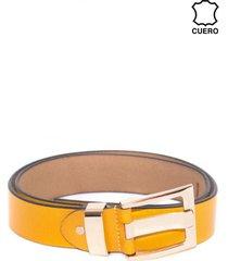 cinturon cuero aguijon ancho amarillo mailea