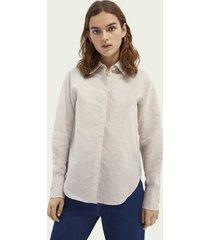 scotch & soda regular fit blouse van katoen en linnen