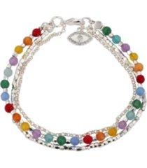 fine silver plated triple strand multi-color evil eye bracelet