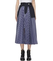 deconstructed logo waistband stripe cotton blend midi skirt