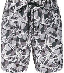 fendi geometric print swim shorts - grey