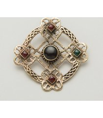 carnelian, onyx and green agate celtic brooch