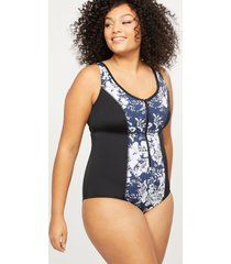 lane bryant women's cacique sport swim one piece with no-wire bra - zip front 18 indigo floral