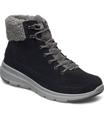 womens on the go glacial ultra - woodlands shoes boots ankle boots ankle boot - flat svart skechers