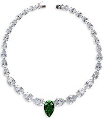 cz by kenneth jay lane women's rhodium-plated & crystal graduated statement pear necklace