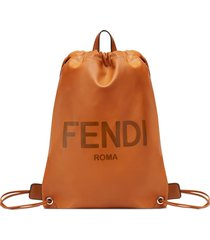 fendi logo-embossed drawstring backpack - brown