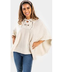 lylah lattice front poncho with hood - heather oat