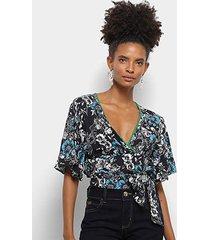blusa colcci floral amarração feminina - feminino