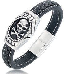 andrew charles by andy hilfiger men's black leather skull bracelet in stainless steel