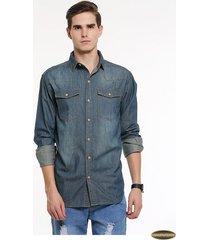 camisa manga larga gaupucean para hombre-azul oscuro