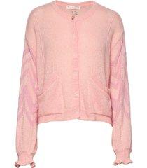 magnetic striped cardigan gebreide trui cardigan roze odd molly