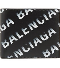balenciaga cash gradient logo leather bifold wallet in black/grey at nordstrom