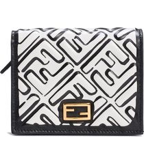 women's fendi x joshua vides small baguette ff logo leather wallet -