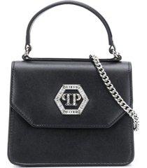 philipp plein bolsa tiracolo com aplicação de logo - preto