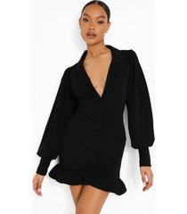 blazer jurk met volle mouwen en geplooide zoom, black