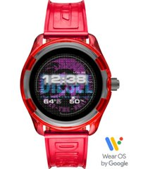 diesel men's fadelite red transparent polyurethane strap touchscreen smart watch 44mm