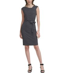 calvin klein petite asymmetrical-neck knit sheath dress