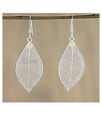 natural leaf dangle earrings, 'stunning nature in straw' (thailand)
