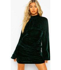 tall velours geplooid mini jurkje met hoge kraag, emerald