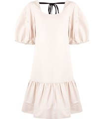 lee mathews reo puff sleeve drop waist dress - neutrals