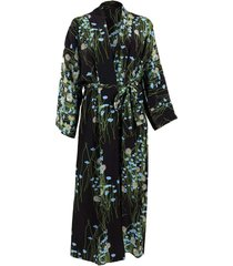 long peignoir silk coat - blue & black
