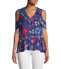dedra floral cold-shoulder blouse