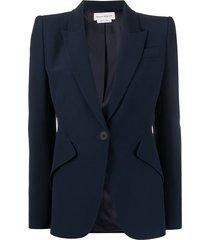 alexander mcqueen structured-shoulder tailored blazer - blue