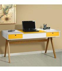 mesa escrivaninha delacroix 430 nogal/branco/amarelo - maxima