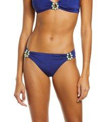 women's trina turk bijou solid hipster bikini bottoms, size 0 - blue