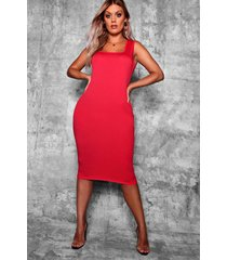 plus longline square neck midi dress, red