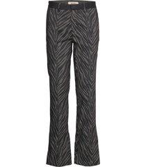 callie zebra pant pantalon met rechte pijpen zwart mos mosh