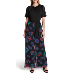 women's tahari floral chiffon wide leg jumpsuit, size 14 - black