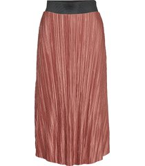 lydia pleated skirt knälång kjol rosa gina tricot