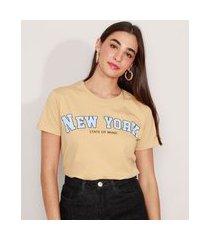 """t-shirt de algodão new york"""" manga curta decote redondo mindset bege"""""""