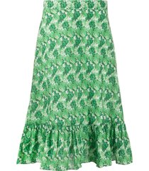 adriana degreas high waisted leaf print skirt - green