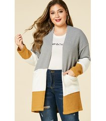 plus size grey color block pocket design cardigan