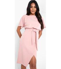 midi jurk met boothals en ceintuur, dusty pink