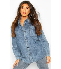 acid wash denim shirt, mid blue