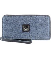 billetera de cuero azul xl paulina canopla