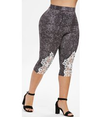 plus size contrast lace heathered capri leggings