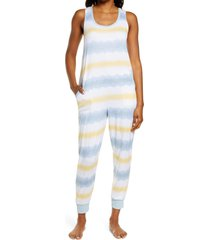 women's z well tie dye crop sleep jumpsuit, size x-small - beige